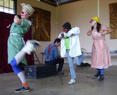 clowns doing the chicken dance