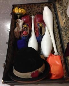 Sneak peak into a clown suitcase.