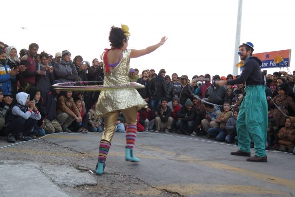 clowns performing on lesvos