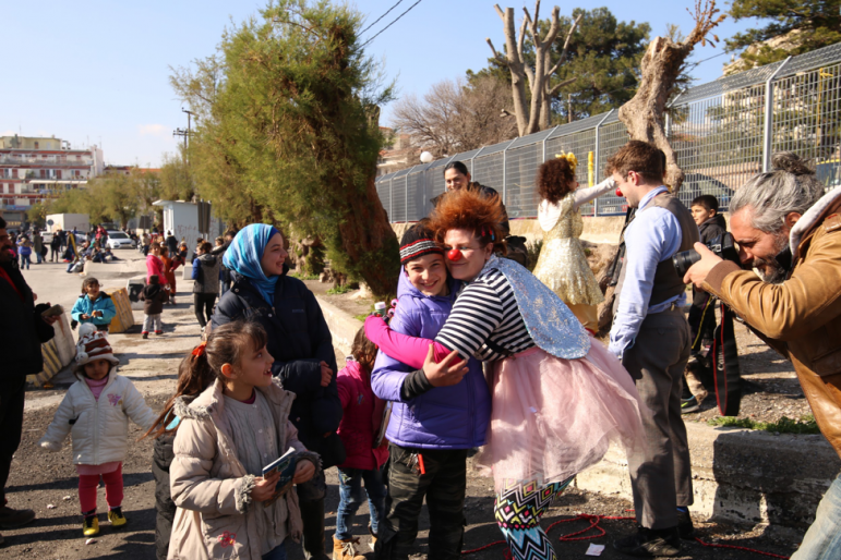 Kolleen and girl at Mytilene port. Lesvos. Volunteering