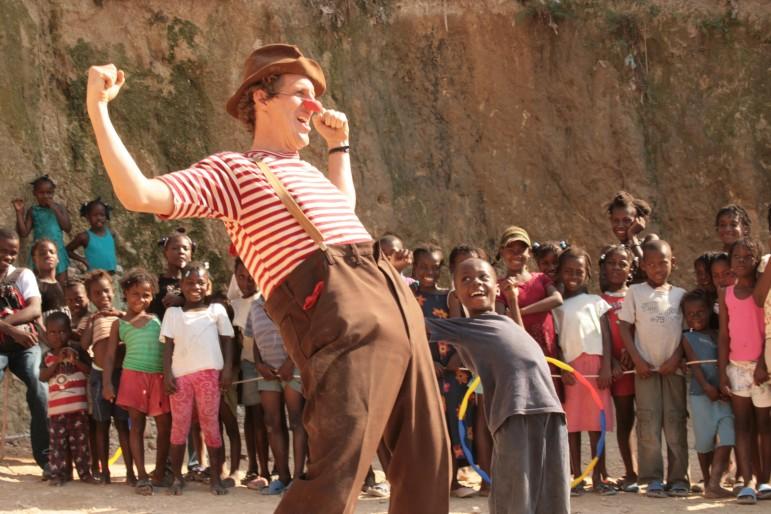 Volunteer performer, David Lichtenstein, clowning in Haiti, 2009.