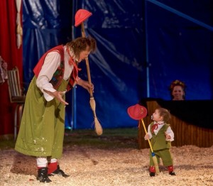Giovanni and his son, Julien, performing together. circus performer
