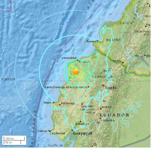 USGS map image of April 18, 2016 Ecuador earthquake epicenter.