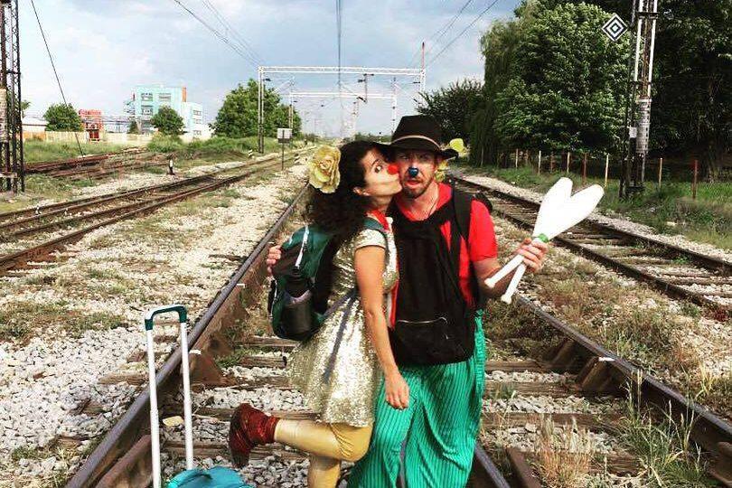 clowns on train track