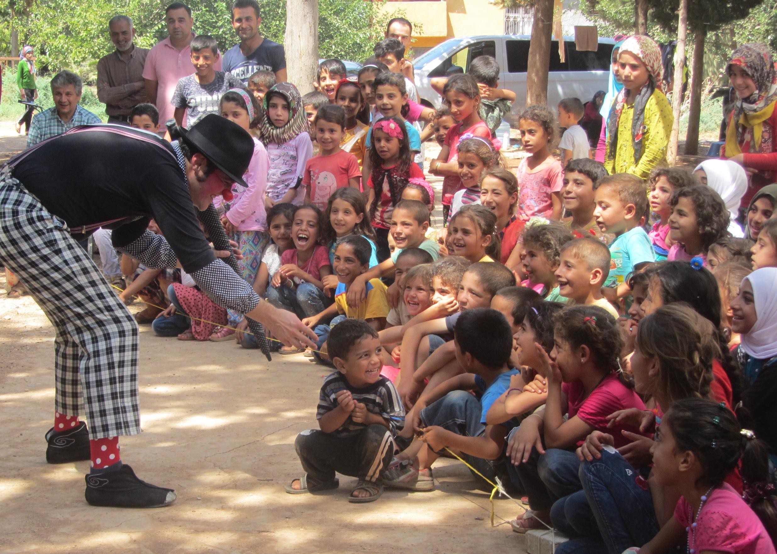 Clowns Perform along Syrian Border