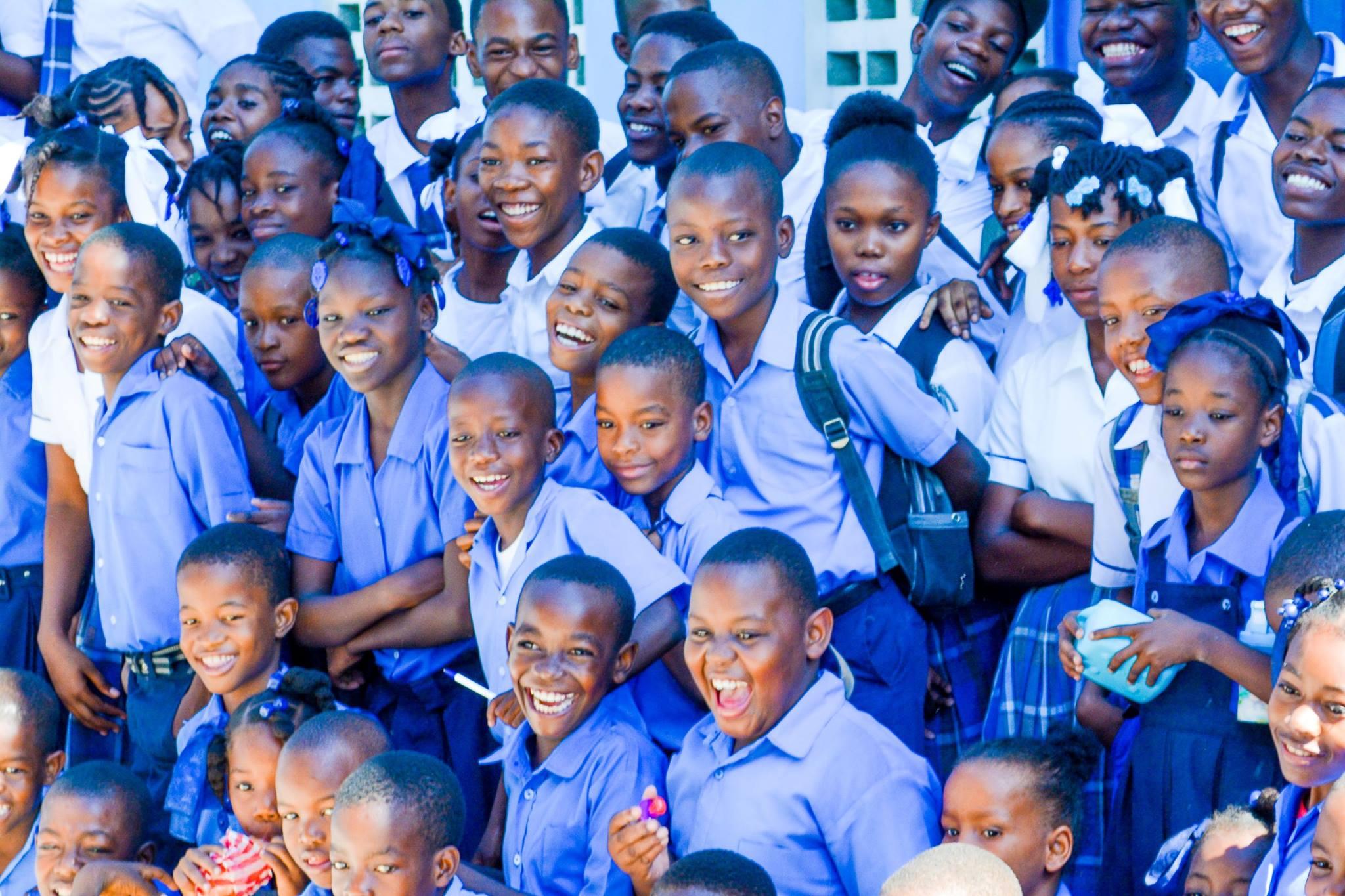 Laughing boys in Haiti.