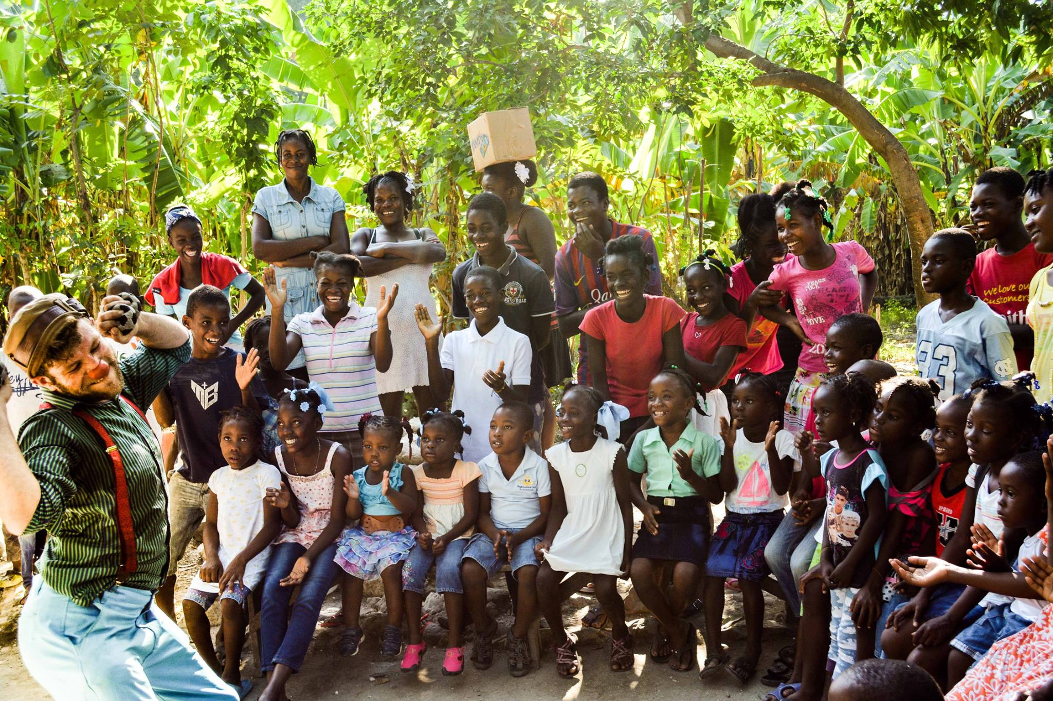 The crowd in a rural village in Haiti.