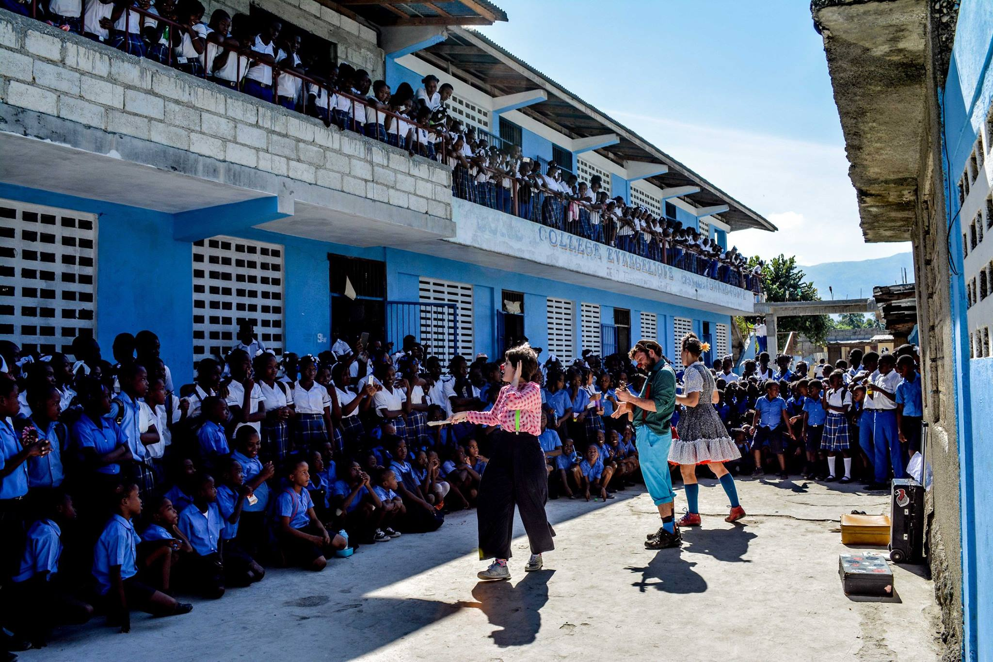 The clowns perform for 700 kids in Haiti.