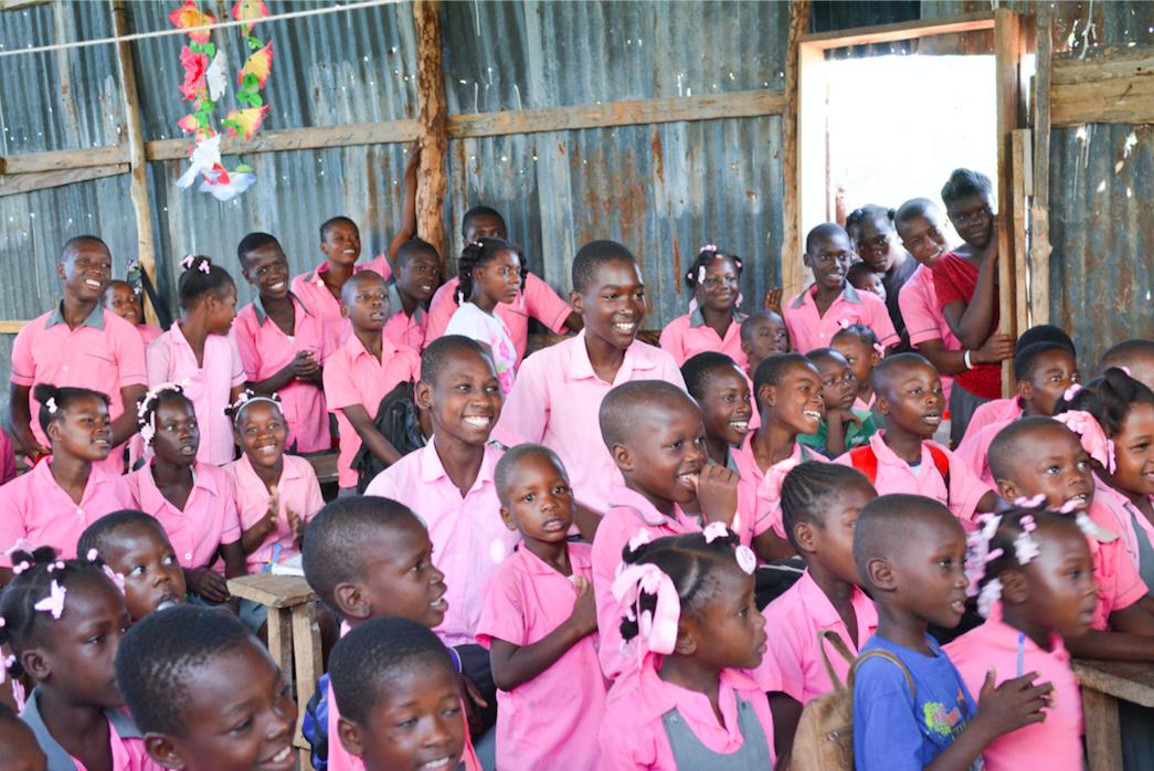 Smiling school kids in Haiti