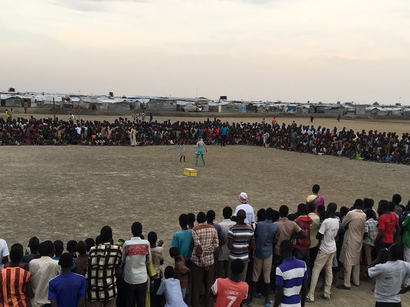 A performance for a huge crowd in South Sudan