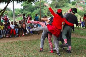 Clowns balance on one leg in Colombia