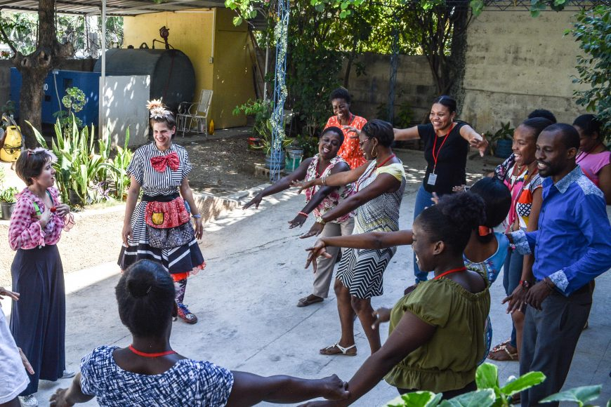 Clowns lead a workshop for MSF caregivers, in Haiti