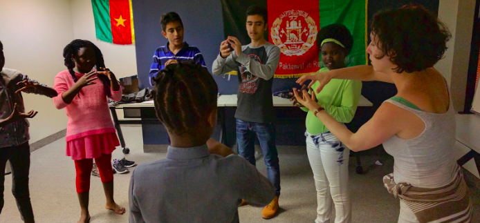 High school students at a refugee workshop in San Antonio, TX
