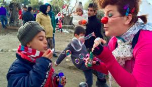 Kolleen blows bubbles in Lesvos