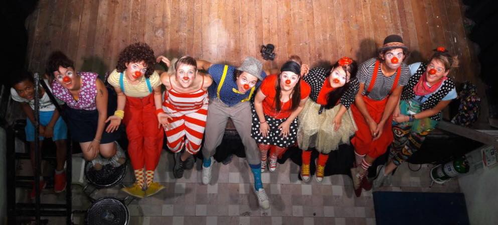 All the Colombia clowns pose together