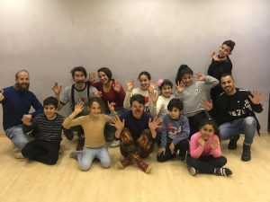 Clowns Without Borders leads a workshop for Palestinian children