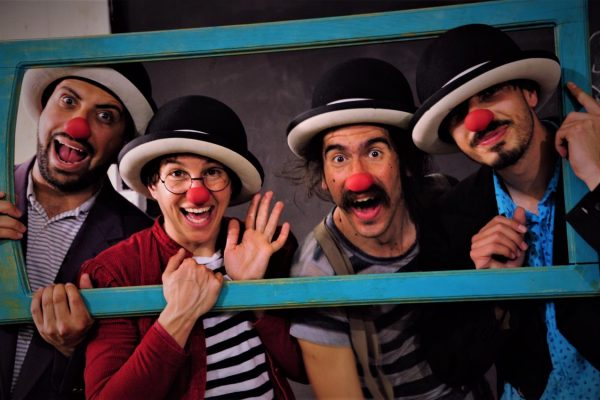 Four clowns fit into a picture frame