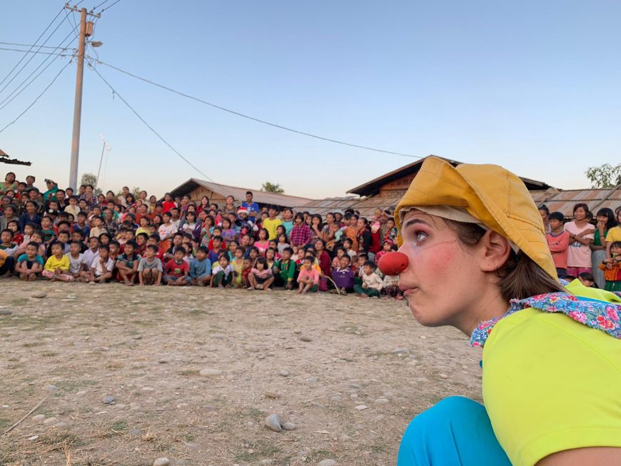 CWB - USA using clowning to share mine risk education messaging in Myanmar