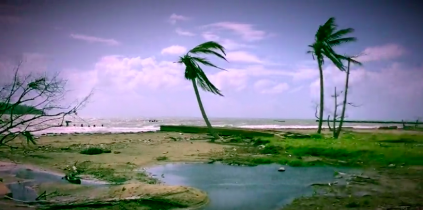 A beach in Puerto Rico, shortly after Category 5 Hurricane Maria made landfall